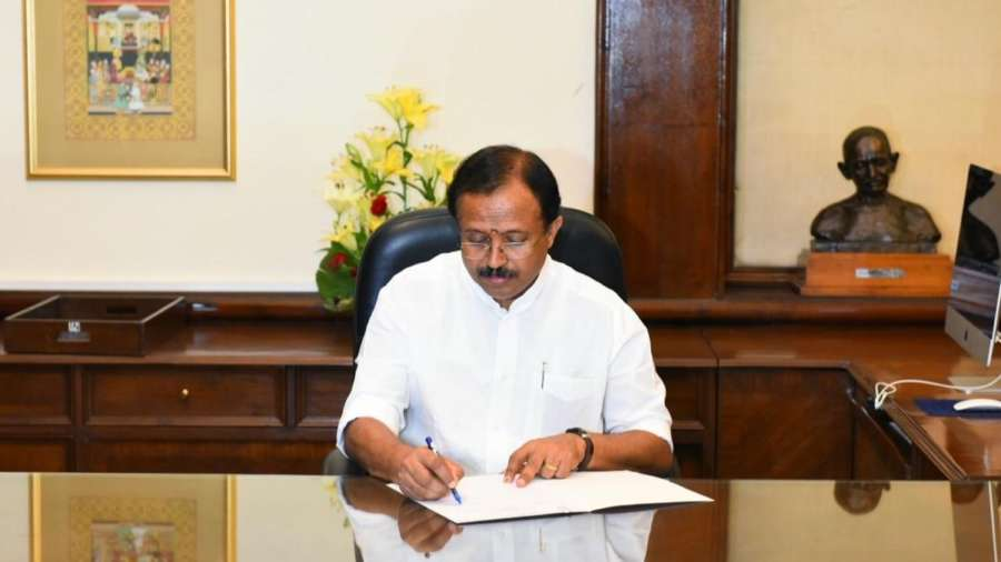 New Delhi: V. Muraleedharan takes charge as the Minister of State for External Affairs, in New Delhi on May 31, 2019. (Photo: IANS/MEA) by .