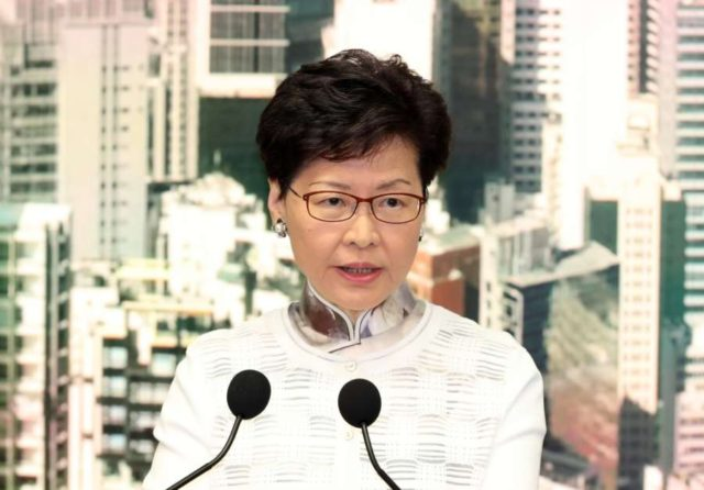 HONG KONG, June 15, 2019 (Xinhua) -- Hong Kong Special Administrative Region (HKSAR) Chief Executive Carrie Lam announces on June 15, 2019 that the HKSAR government will suspend the amendments to the Fugitive Offenders Ordinance and the Mutual Legal Assistance in Criminal Matters Ordinance until further communication and explanation work is completed. TO GO WITH