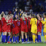LYON, July 3, 2019 (Xinhua) -- Players of the United States celebrate victory after the semifinal between the United States and England at the 2019 FIFA Women's World Cup at Stade de Lyon in Lyon, France on July 2, 2019. (Xinhua/Ding Xu/IANS) by Ding Xu.