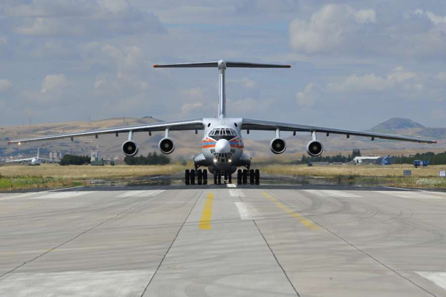 ANKARA, July 12, 2019 (Xinhua) -- A Russian Antonov military cargo plane, carrying parts of the S-400 missile defense system from Russia, lands at the Murted Air Base in Ankara, Turkey, on July 12, 2019. The first batch of Russian S-400 air defense system was delivered in Turkish capital city of Ankara on Friday, the Turkish Defense Ministry said. (Turkish Defense Ministry/Handout via Xinhua/IANS) by .