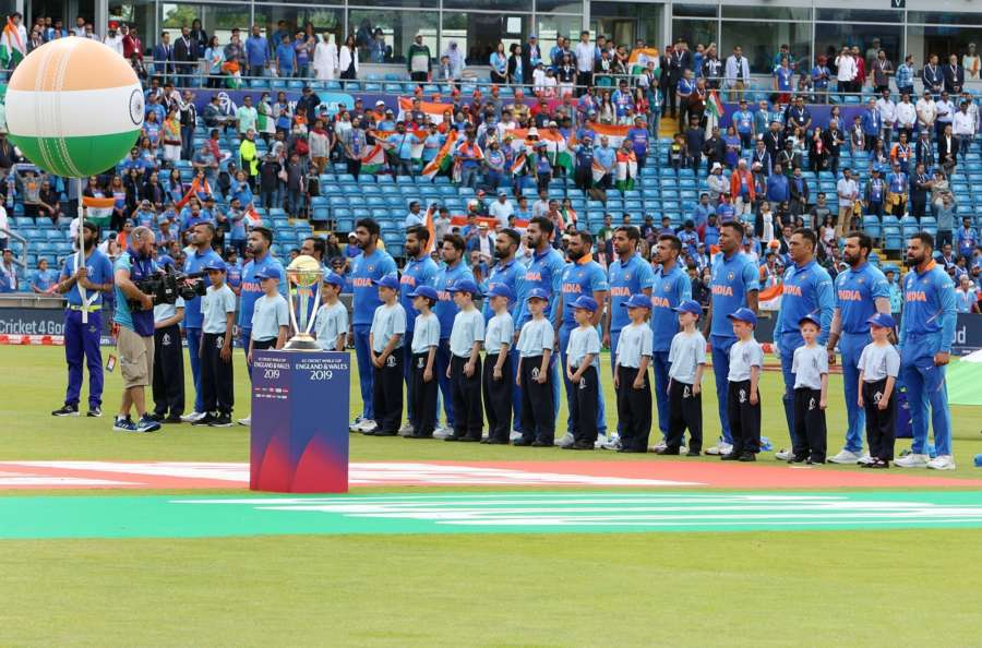 Leeds: Team India stands for the national anthem ahead of the 44th match of World Cup 2019 against Sri Lanka at Headingley Stadium in Leeds, England on July 6, 2019. (Photo: Surjeet Yadav/IANS) by .