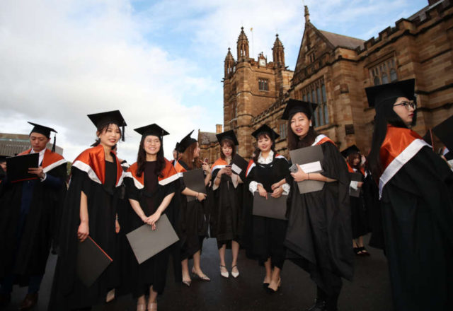 SYDNEY, June 17, 2019 (Xinhua) -- Graduates are seen at the campus of University of Sydney, Australia, June 5, 2019. Introduced in 2010, Australia's move to a demand-driven higher education system has seen a sharp rise in university enrollments. But on Monday a new report from the federal government's Productivity Commission has highlighted that uncapping the total number of placements has also led to an increase in failure rates and a higher number of dropouts. (Xinhua/Bai Xuefei/IANS) by Bai Xuefei.