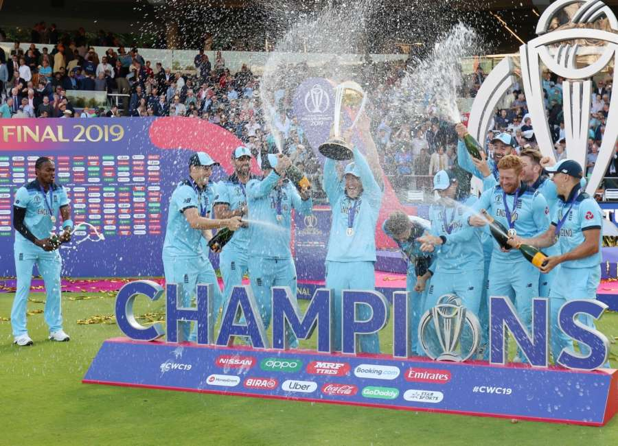 London: England captain Eoin Morgan with 2019 World Cup at Lord's Cricket Ground in London on July 15, 2019. It took them 44 years, but England have finally done it. Neither a tied game, nor a spirited New Zealand could stop England from bringing the trophy home at the Lord's on Sunday. It finally took a Super Over for England to be crowned winners of the 2019 World Cup.(Photo: Surjeet Yadav/IANS) by .