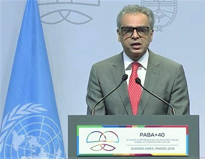 India's Permanent Representative to the United Nations, Syed Akbaruddin, speaks on Thursday, March 21, 2019, a the High-Level South-South Cooperation Conference in Buenos Aires. (Photo: UN/IANS) by .