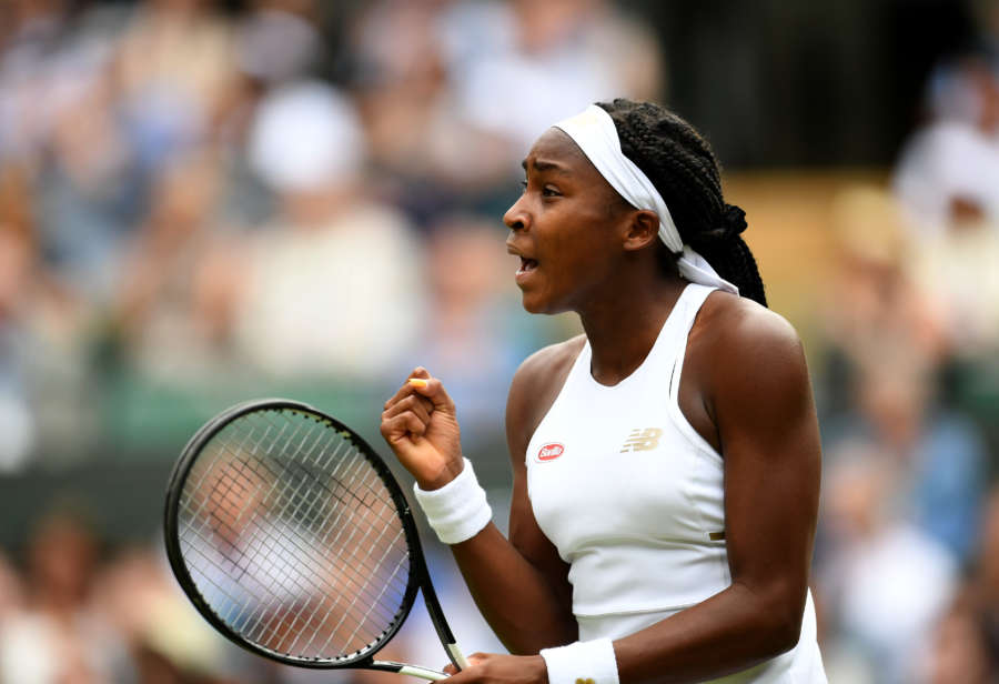 LONDON, July 2, 2019 (Xinhua) -- Cori Gauff of the United States celebrates during the women's singles first round match against her compatriot Venus Williams at the 2019 Wimbledon Tennis Championships in London, Britain, July 1, 2019. (Xinhua/Lu Yang/IANS) by Lu Yang.