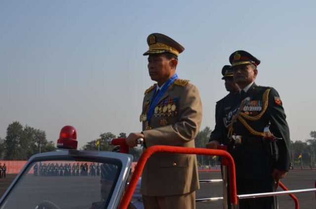 Deputy Commander-in-Chief Defence Services Myanmar and Commander-in-Chief Myanmar Army, Soe Win inspecting the passing out parade at the Officers Training Academy in Gaya on Dec. 14, 2013. (Photo: IANS) by .