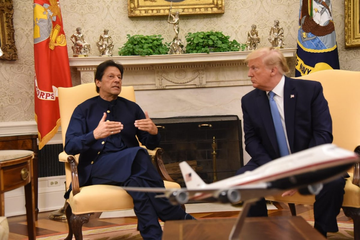 Washington: US President Donald Trump with Pakistan Prime Minister Imran Khan at their meeting at White House in Washington on July 22, 2019. (Photo: Twitter / @PTIofficial) by .