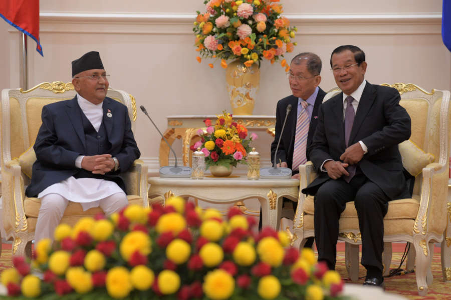 PHNOM PENH, May 13, 2019 (Xinhua) -- Cambodian Prime Minister Samdech Techo Hun Sen (R) meets with visiting Nepalese Prime Minister K.P. Sharma Oli (L) at the Peace Palace in Phnom Penh, Cambodia on May 13, 2019. Cambodia and Nepal signed on Monday two pacts to boost bilateral trade and investment, a Cambodian senior official said. (Xinhua/Sovannara/IANS) by Sovannara.