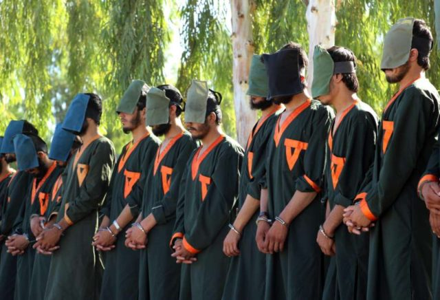 KANDAHAR, June 29, 2019 (Xinhua) -- Arrested militants stand handcuffed in Kandahar province, Afghanistan, June 29, 2019. Government forces have arrested 40 armed militants in Afghanistan's southern Kandahar province over the past 10 days, Kandahar provincial governor Hatytullah Hayat said Saturday. (Xinhua/Sanaullah Seiam/IANS) by Sanaullah Seiam.