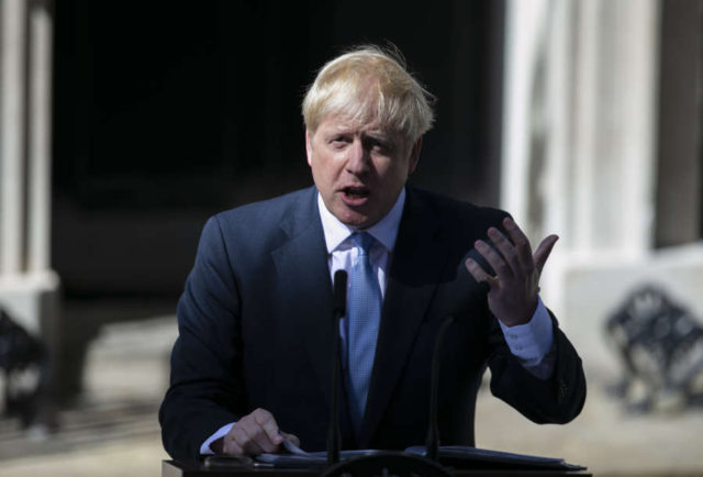 LONDON, July 24, 2019 (Xinhua) -- Newly elected Conservative Party leader and British Prime Minister Boris Johnson speaks at 10 Downing Street in London, Britain, July 24, 2019. Newly-elected Conservative Party leader Boris Johnson took office as the British prime minister on Wednesday amid the rising uncertainties of Brexit. The latest development came after Theresa May formally stepped down as the leader of the country and Johnson was invited by the Queen to form the government. (Xinhua/Han Yan/IANS) by Han Yan.