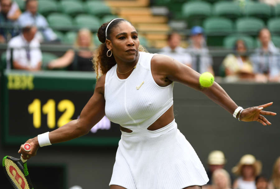 LONDON, July 6, 2019 (Xinhua) -- Serena Williams competes during the women's singles third round match between Serena Williams of the United States and Julia Goerges of Germany at the 2019 Wimbledon Tennis Championships in London, Britain, on July 6, 2019. (Xinhua/Lu Yang/IANS) by Lu Yang.