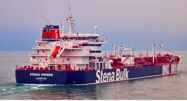 The British-flagged Stena Impero oil tanker with 18 Indians aboard which was seized by Iran on Friday. by .