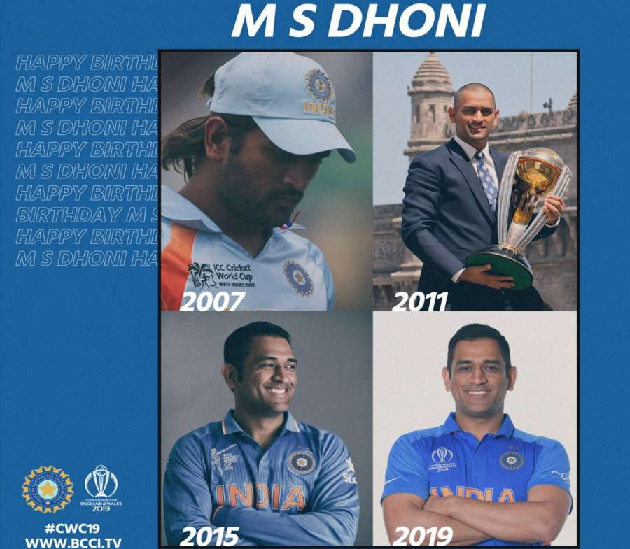 """Board of Control for Cricket in India (BCCI) took to Twitter to wish the wicketkeeper-batsman and said: """"Four World Cups, four different looks, which one do you like the most? Take a pick. Happy Birthday Dhoni."""" by ."""