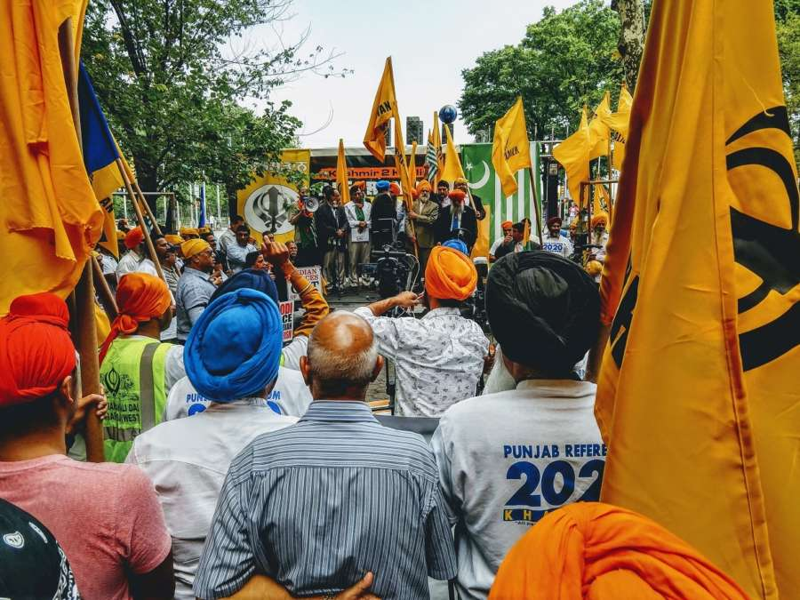 Pro-Khalistan protesters, joined by a few Pakistanis and Kashmiris, held a protest outside the United Nations in New York on Thursday, August 15, 2019, demanding the reinstatement of Kashmir's special status. (Photo: IANS) by .