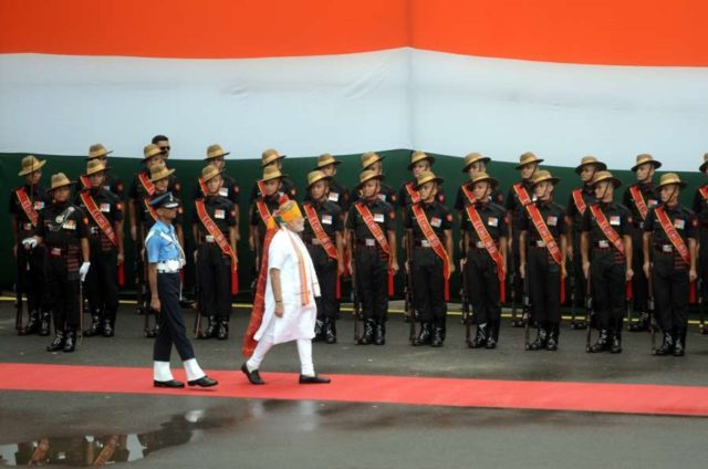 New Delhi: Prime Minister Narendra Modi inspects Guard of Honour on the 73rd Independence Day at Red Fort, in New Delhi on Aug 15, 2019. (Photo: IANS) by .