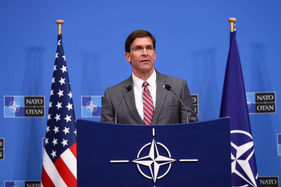 BRUSSELS, June 28, 2019 (Xinhua) -- U.S. Acting Secretary of Defense Mark Esper attends a press conference after a NATO defense ministers meeting at NATO headquarters in Brussels, Belgium, on June 27, 2019. The two-day NATO defense ministers meeting closed on Thursday. (Xinhua/Zhang Cheng/IANS) by Zhang Cheng.