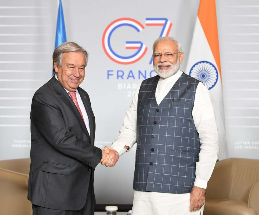 United Nations Secretary-General Antonio Guterres, left, and Prime Minister Narendra Modi at their meeting on Sunday, August 25, 2019, in Biarritz, France, on the sidelines of the G7 summit. (Photo: Modi's Tweet) by .