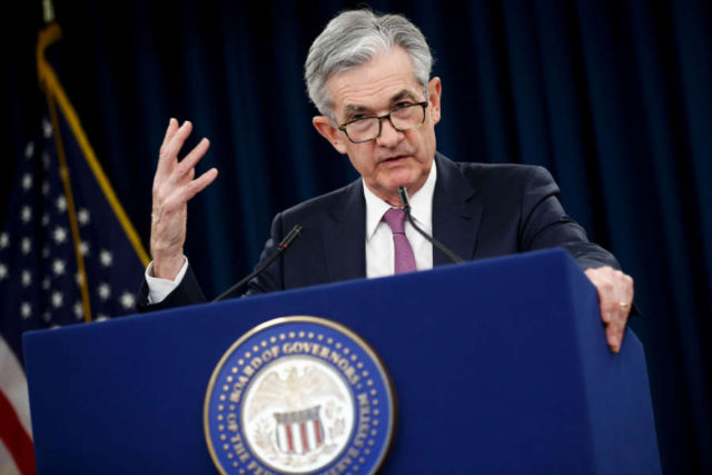 WASHINGTON, May 1, 2019 (Xinhua) -- U.S. Federal Reserve Chairman Jerome Powell speaks during a press conference in Washington D.C., the United States, on May 1, 2019. The U.S. Federal Reserve on Wednesday left interest rates unchanged despite pressure from President Donald Trump to lower rates and boost economic growth. (Xinhua/Ting Shen/IANS) by Ting Shen.