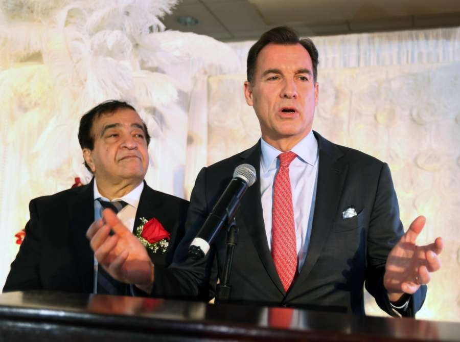 Long Island: Nargis Dutt Memorial Foundation President Andy Mansukhani and Congressman Tom Suozzi at the Foundation's 37th Annual Gala in New York's Long Island, USA on Oct 29, 2018. (Photo: Mohammed Jaffer/IANS) by .