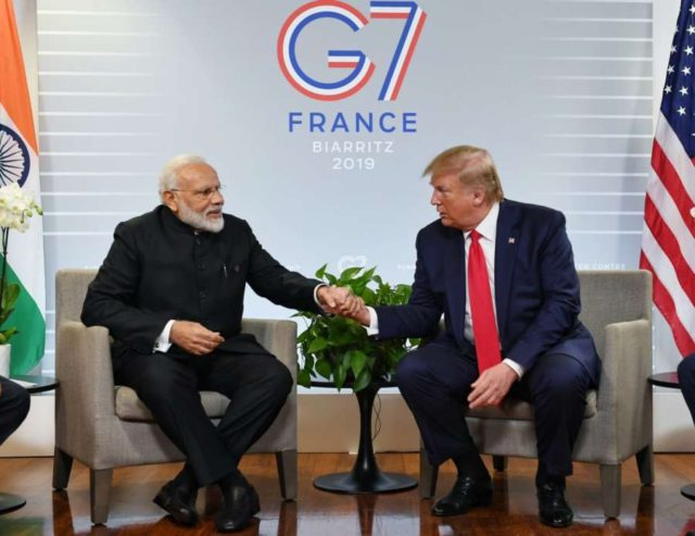 Biarritz: Prime Minister Narendra Modi meets US President Donald Trump on the sidelines of the G7 Summit in Biarritz, France on Aug 26, 2019. (Photo: IANS/PMO) by .