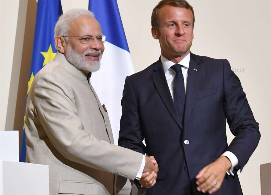 Chateau de Chantilly: Prime Minister Narendra Modi and French President Emmanuel Macron at the Joint Press Statement in Chateau de Chantilly, France on Aug 22, 2019. (Photo: IANS/PIB) by .