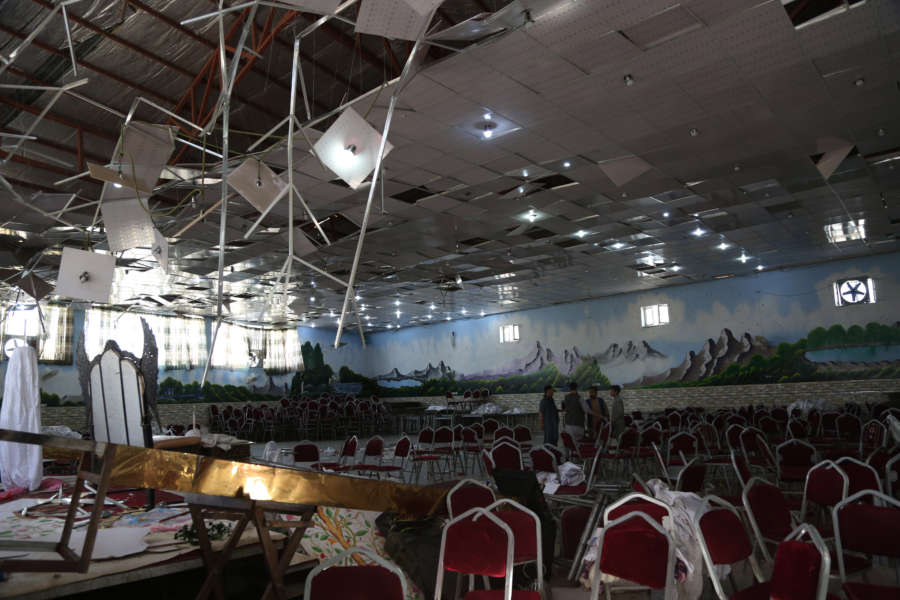 KABUL, Aug. 18, 2019 (Xinhua) -- Photo taken on Aug. 18, 2019 shows a blast site inside Shahr-e-Dubai wedding hall in Kabul, capital of Afghanistan. At least 63 people were killed and over 180 others wounded in Saturday night's suicide explosion at a wedding hall in western Kabul, police of the Afghan capital confirmed on Sunday. (Xinhua/Rahmatullah Alizadah/IANS) by Xinhua Kabul.
