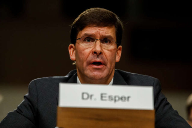 WASHINGTON, July 16, 2019 (Xinhua) -- U.S. Secretary of Defense nominee Mark Esper testifies before the Senate Armed Services Committee during his confirmation hearing on Capitol Hill in Washington D.C., the United States, on July 16, 2019. (Xinhua/Ting Shen/IANS) by .