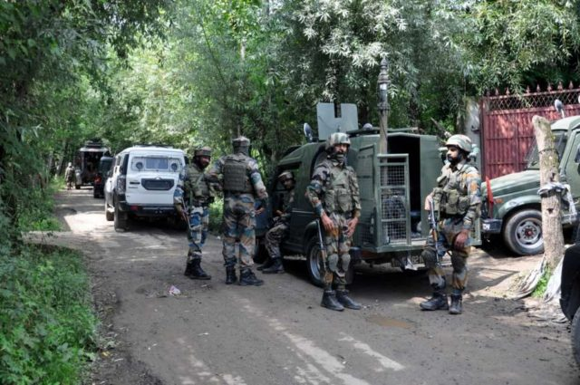 Shopian: Security personnel during search operations after two Army soldiers were killed in an encounter with militants at Pandushan village in South Kashmir's Shopian district, on Aug 2, 2019. (Photo: IANS) by .