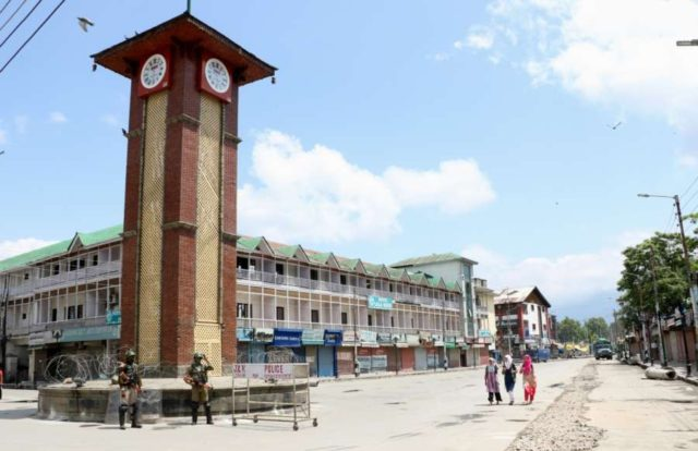 Srinagar: Security beefed up ahead of Prime Minister Narendra Modi's visit to Jammu and Kashmir, in Srinagar on May 19, 2018. As separatists called for protest march to Srinagar's city centre Lal Chowk against Modi's visit, the authorities suspended mobile internet services and shut down schools and colleges for the day across the Kashmir Valley as a precautionary measure. (Photo: IANS) by .