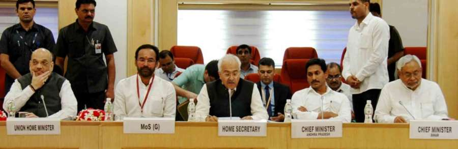 New Delhi: Union Home Minister Amit Shah with MoS Home Affairs G. Kishan Reddy, Home Secretary Ajay Kumar Bhalla, Andhra Pradesh Chief Minister Y.S. Jagan Mohan Reddy and Bihar Chief Minister Nitish Kumar at a meeting of all Chief Ministers of Maoist-affected states chaired by him to review the operations against the insurgent groups and initiatives taken over the issue, at Vigyan Bhawan in New Delhi on Aug 26, 2019. (Photo: IANS) by .
