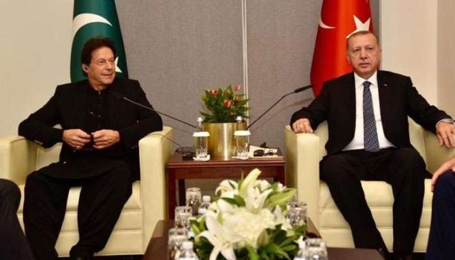 Pakistani Prime Minister Imran Khan with Turkish President Recep Tayyip Erdogan. by .