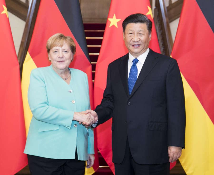 BEIJING, Sept. 6, 2019 (Xinhua) -- Chinese President Xi Jinping meets with visiting German Chancellor Angela Merkel in Beijing, capital of China, Sept. 6, 2019. (Xinhua/Huang Jingwen/IANS) by Huang Jingwen.