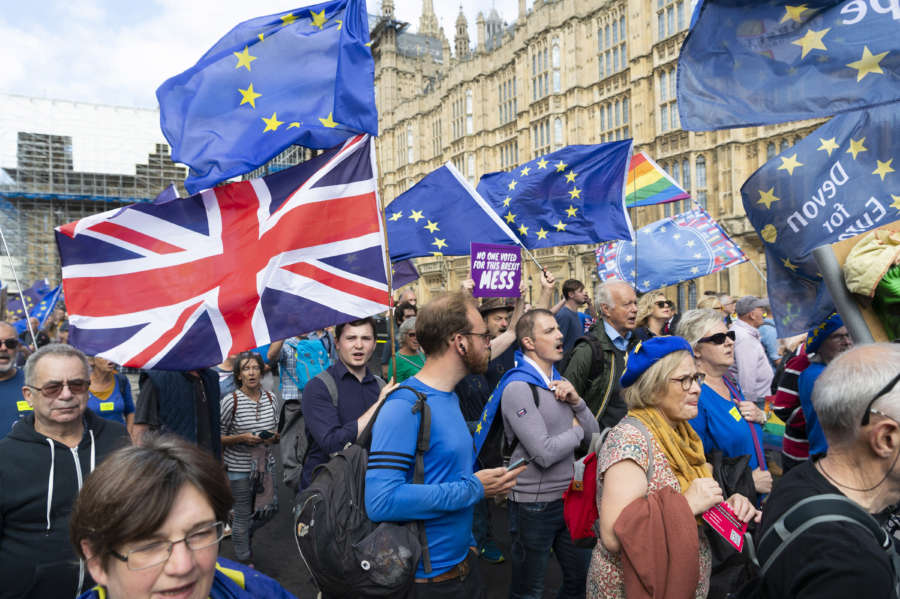 LONDON, Sept. 3, 2019 (Xinhua) -- Anti-Brexit protesters take part in a demonstration in London, Britain, on Sept. 3, 2019. British Prime Minister Boris Johnson on Tuesday lost a key Brexit vote in the House of Commons as anti-no deal MPs take control of the parliamentary business. (Photo by Ray Tang/Xinhua/IANS) by .