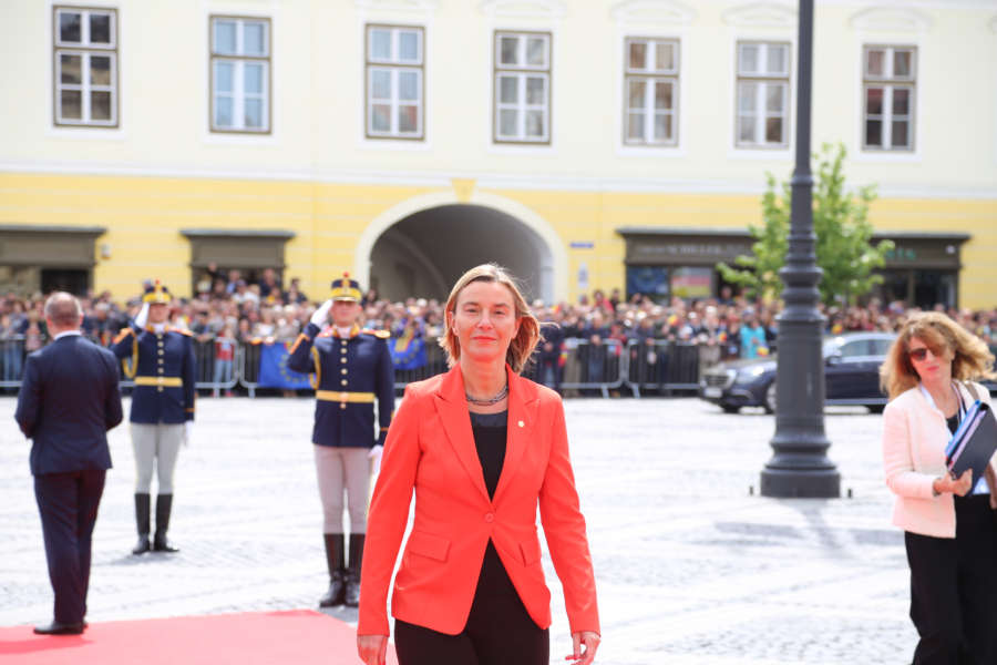 """SIBIU, May 9, 2019 (Xinhua) -- High Representative of the European Union (EU) for Foreign Affairs and Security Policy Federica Mogherini arrives in the Grand Square in front of the Sibiu City Hall to attend the EU informal summit in Sibiu, Romania, May 9, 2019. The leaders of the EU member states on Thursday agreed on defending """"one Europe"""" and upholding the rules-based international order in their """"10 commitments"""" declaration, made at an informal summit in Sibiu. (Xinhua/Chen Jin/IANS) by ."""