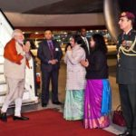 Frankfurt: Prime Minister Narendra Modi being welcomed by Indian Ambassador to Germany Mukta Dutta Tomar and Consul General Pratibha Parkar during a two-hour technical halt in Frankfurt, Germany on his way to Houston, US on Sep 21, 2019. (Photo: IANS/MEA) by .