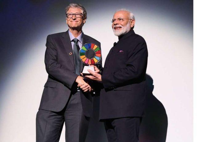 Narendra Modi,Global Goalkeeper Award . (Photo: Twitter/@gatesfoundation ) by .