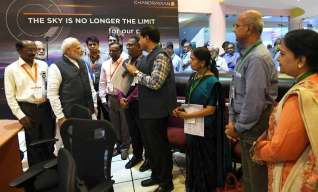 The Prime Minister, Shri Narendra Modi interacting with the scientists, at ISRO, in Bengaluru on Sep 7, 2019. ((IANS/PIB) by .