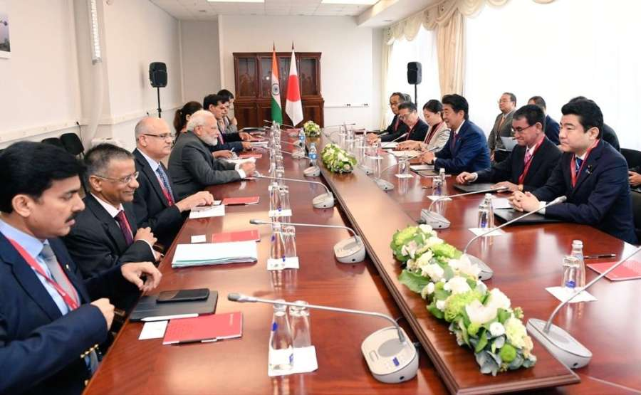 Vladivostok: Prime Minister Narendra Modi during delegation level talks with Japanese Prime Minister Shinzo Abe on the margins of the 5th Eastern Economic Forum in Vladivostok on Sep 5, 2019. (Photo: IANS/MEA) by .