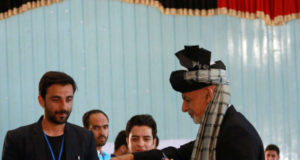 KABUL, Sept. 28, 2019 (Xinhua) -- Afghan President and presidential candidate Mohammad Ashraf Ghani (R) casts ballot at a polling center during presidential election in Kabul, capital of Afghanistan, Sept. 28, 2019. Afghanistan held presidential election on Saturday. (Xinhua/Rahmatullah Alizadah/IANS) by .