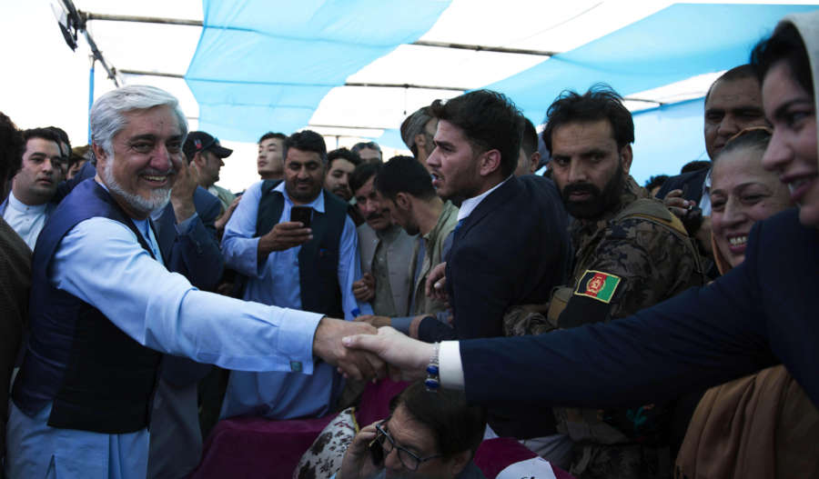 HERAT, Sept. 24, 2019 (Xinhua) -- Afghan presidential candidate Abdullah Abdullah shakes hands with his supporter during an election campaign in Herat province, western Afghanistan, Sept. 24, 2019. The country is preparing for the upcoming presidential election slated for Sept. 28. (Photo by Elaha Sahel/Xinhua/IANS) by .