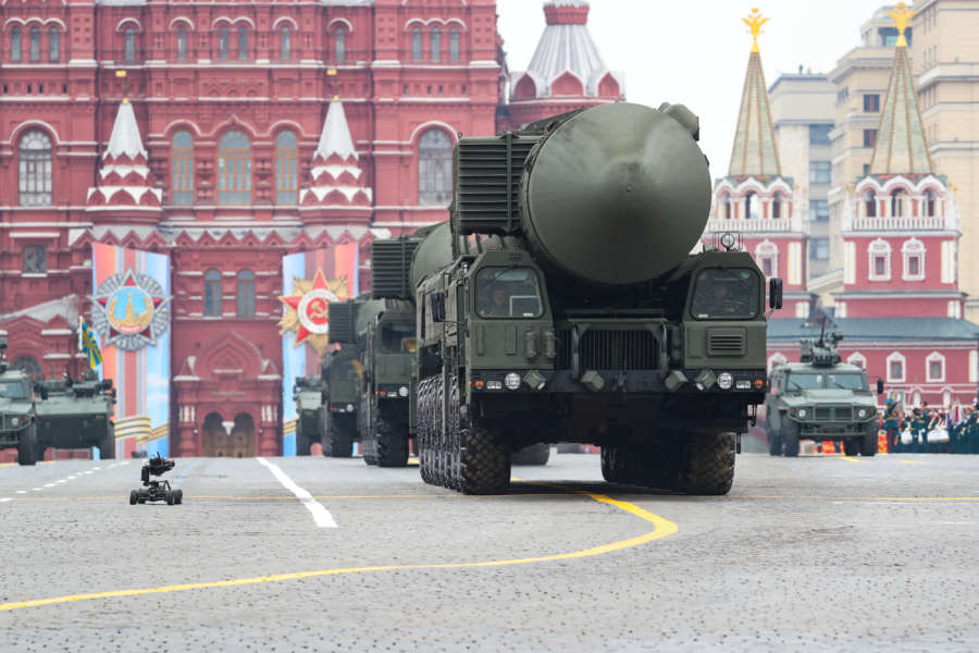 MOSCOW, May 9, 2019 (Xinhua) -- Russian RS-24 Yars intercontinental ballistic missile systems are seen on the Red Square for the Victory Day parade in Moscow, Russia, May 9, 2019. Russia marks the 74th anniversary of the victory over Nazi Germany in World War II here on May 9. (Xinhua/Bai Xueqi/IANS) by .