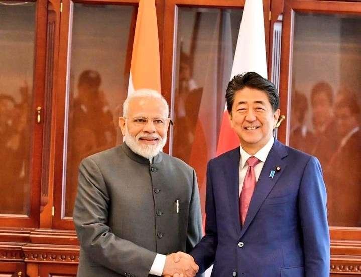 Vladivostok: Prime Minister Narendra Modi meets Japanese Prime Minister Shinzo Abe on the margins of the 5th Eastern Economic Forum in Vladivostok, Russia on Sep 5, 2019. (Photo: IANS/MEA) by .