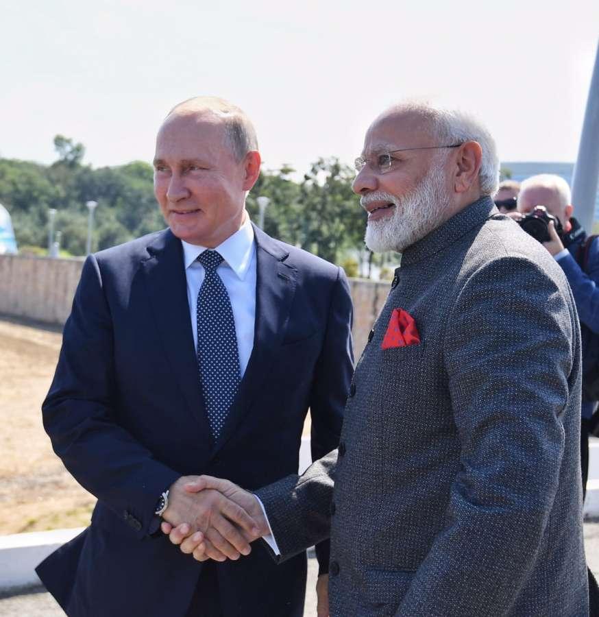 Vladivostok: Prime Minister Narendra Modi meets Russian President Vladimir Putin in Vladivostok, Russia on Sep 4, 2019. (Photo: IANS/MEA) by .