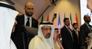 VIENNA, June 22, 2018 (Xinhua) -- Saudi Energy Minister Khalid Al-Falih (C) attends the Organization of the Petroleum Exporting Countries (OPEC) meeting in Vienna, Austria, on June 22, 2018. The Organization of the Petroleum Exporting Countries member states agreed at a meeting here Friday to increase the oil production. (Xinhua/Liu Xiang/IANS) by .