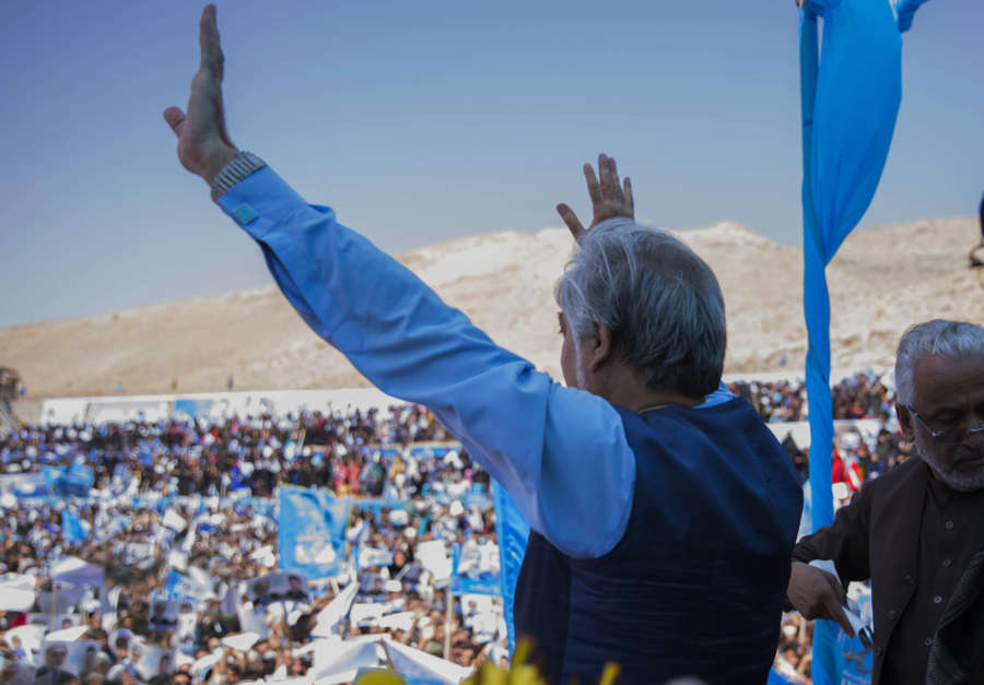 HERAT, Sept. 24, 2019 (Xinhua) -- Afghan presidential candidate Abdullah Abdullah attends an election campaign in Herat province, western Afghanistan, Sept. 24, 2019. The country is preparing for the upcoming presidential election slated for Sept. 28. (Photo by Elaha Sahel/Xinhua/IANS) by .
