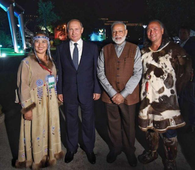 Vladivostok: Prime Minister Narendra Modi and Russian President Vladimir Putin during the 'Street of the Far East' exhibition in Vladivostok 0n Sep 4, 2019. (Photo: IANS/MEA) by .