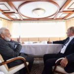 Vladivostok: Prime Minister Narendra Modi and Russian President Putin onboard a ship on their way to 'Zvezda' Shipbuilding Complex in Russia on Sep 4, 2019. (Photo: IANS/MEA) by .