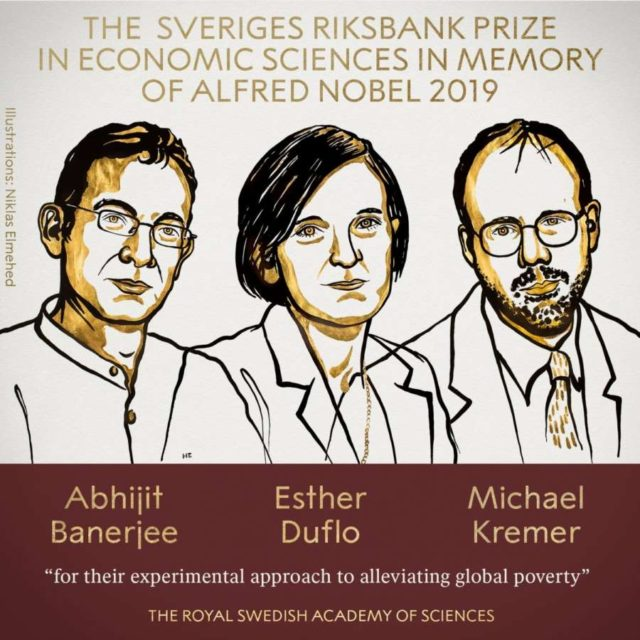"""Caption: The 2019 Sveriges Riksbank Prize in Economic Sciences has been awarded to Indian-origin MIT professor Abhijit Banerjee, Esther Duflo and Michael Kremer """"for their experimental approach to alleviating global poverty"""", it was announced on Monday. (Photo: Twitter/@NobelPrize) by ."""