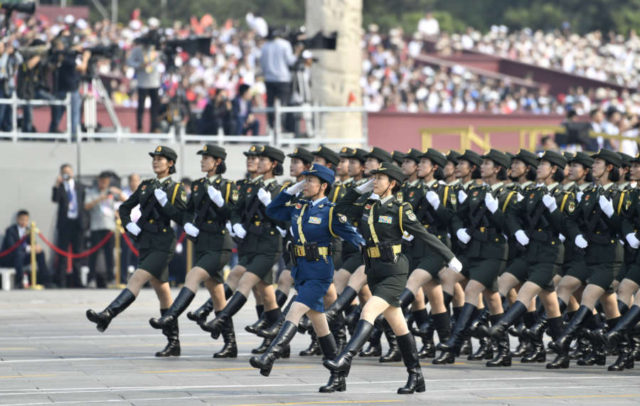 BEIJING, Oct. 1, 2019 (Xinhua) -- A formation of servicewomen marches in a military parade during the celebrations marking the 70th anniversary of the founding of the People's Republic of China (PRC) in Beijing, capital of China, Oct. 1, 2019. (Xinhua/Liu Chan/IANS) by Liu Chan.