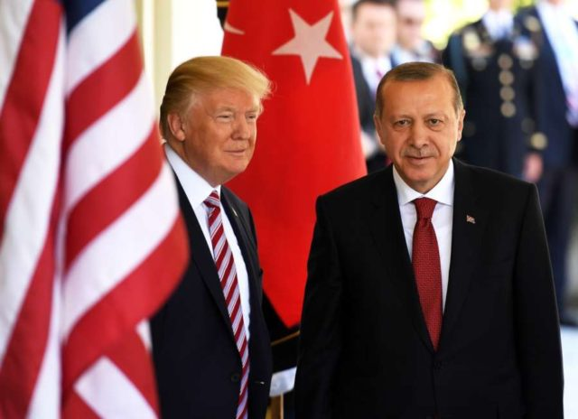 WASHINGTON, May 16, 2017 (Xinhua) -- U.S. President Donald Trump (L) welcomes Turkish President Recep Tayyip Erdogan at the White House in Washington D.C., the United States, on May 16, 2017. U.S. President Donald Trump and his Turkish counterpart Recep Tayyip Erdogan pledged on Tuesday to repair bilateral relationship fraught with difficulties in the past. (Xinhua/Yin Bogu/IANS) by .